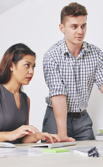 Head of UX department asking manager to make corrections in website interface she created